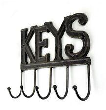 5 Hook Cast Iron Metal Key Rack Holder - Rustic KEYS - Antique Brown Wall Hook