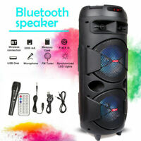 "Dual 6.5"" Woofer Portable FM Bluetooth Party Speaker Wireless Heavy Bass Sound"
