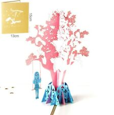 3D Pop Up Card Playing On A Swing Girl Holiday Greeting Baby Child Gift Cards