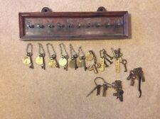 Vintage Skeleton Room Keys & Brass Number Tags Antique Folk Art Hotel Key Rack