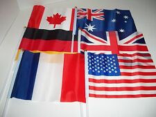 Set of 6 INTERNATIONAL FLAGS for American Girl or any doll to wave
