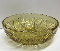 Vintage Indiana Glass Amber Scalloped Edge Serving Bowl