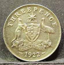 1922 Australia 3d Threepence ** ERROR SHOWING THROUGH ** #RB322-1