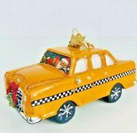 Kurt S Adler Noble Gems Taxi Glass Ornament Christmas Glass Hanging Santa Yellow