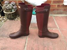 HUNTER REFINED TWO TONE HIGH WELLINGTON BOOT FESTIVAL RIDING STABLE S-5 ORIGINAL