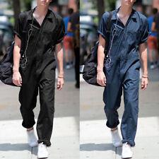 Herren Casual Revers Jumpsuit Strampler Overall Kurzarm Tasche OnePiece Workwear