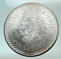 1948 MEXICO Aztec Chieftain CUAUHTEMOC Eagle Genuine Silver 5 Peso Coin i82101