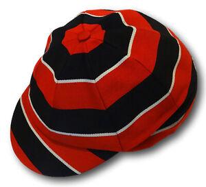 Black White & Red Venetian Stripe Wool Worsted School Uniform / Rowing Cap