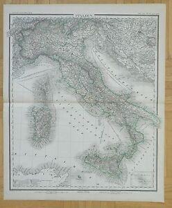 M16 ANTIQUE 1879 FOLIO MAP ITALY SARDINIA STEIN ATLAS HANDCOLORED
