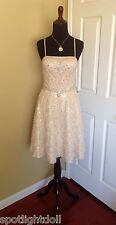 BRAND NEW SUE WONG CHAMPAGNE BEADED FIT & FLARE FORMAL COCKTAIL EVENING DRESS 2