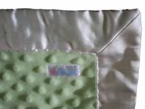 "Baby Boy Girl Aimee Silky Minky Dot Green Security Blanket Lovey 14"" x 16"""