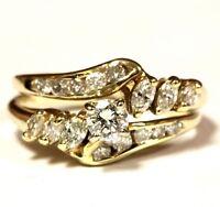 14k yellow gold .57ct round diamond vintage engagement wedding band ring 3g