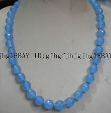 Jade Bead Gemstone Necklace18'' Aaa 10Mm Natural Sky Blue Faceted