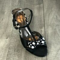 American Eagle Size 7 Black T-Strap Kitten-Heeled Sandals Black/White Bow Tie
