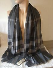 Echarpe fine / chèche BURBERRY laine & soie tartan check NEUVE valeur 350€