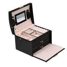 Three Layer Jewelry Storage Organizer Box PU Earring Necklace Display Case Cabin