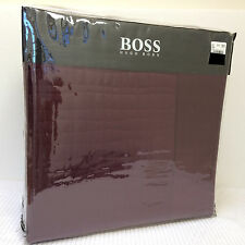NEW - Hugo Boss *LUXE* King COVERLET Quilted WINE 100% Cotton/SILK