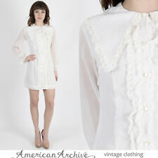 Vintage 60s Mod Wedding Dress Lace Tuxedo Ruffle Cocktail Party Scooter Mini S
