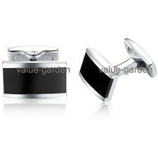 Honey Bear Mens Stainless Steel Black Rectangle Wedding Cufflinks High Quality