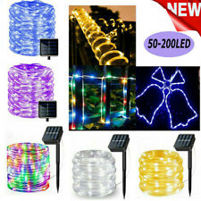 200 LEDs Solar Powered Tube Rope Fairy String Lights Waterproof Outdoor Garden