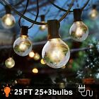 50/100ft Outdoor Festoon Globe String Fairy Lights Plug In Bulbs Garden Wedding