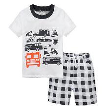 Boys Kids Summer Clothes Short Sleeve T-Shirt Tops Plaids Check Shorts Pants Set