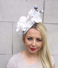 White Cream Silver Orchid Flower Fascinator Hat Pillbox Races Ascot Wedding 3159