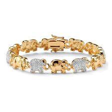 """PalmBeach Jewelry 1.32 TCW CZ 14k Gold-Plated Elephant-Link Pave Bracelet 8"""""""