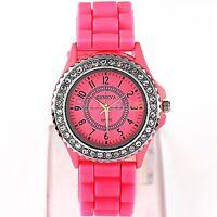 Unisex Modish Geneva Jelly Gel Silicone Rubber Band Analog Quartz Wrist Watch