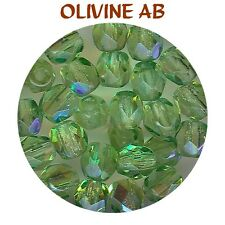 F4 OX *** 80 PERLES A FACETTES VERRE DE BOHÊME 4MM OLIVINE AB