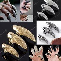 Punk Rock Crystal Rhinestone Claw Ring Nail Paw Talon Finger Gothic Hot
