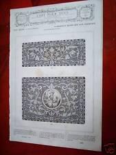 79-19-90 Gravure 19e lambrequin brodé sur soie cramoisi