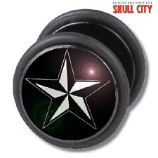 Aeronautical star Fakeplug-Faux piercing picture plug Boucles d'oreille-rockabilly