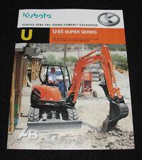 KUBOTA U45S U45 SUPER SERIES ZERO TAIL SWING COMPACT EXCAVATOR CATALOG BROCHURE