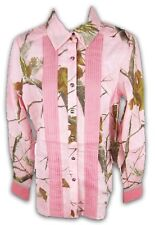 Womens Realtree Girl Montana Shirt Camo Button Down Top APC Pink Camouflage Sz M