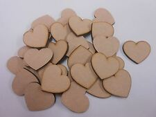 30mm Heart MDF Wooden Blank Embellishment - Decoration - Pack of 30