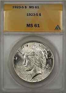 1923-S Peace Silver Dollar Coin $1 ANACS MS 61