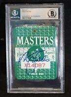 NICK FALDO Signed 1990 Augusta MASTERS PGA Golf BADGE Ticket - Beckett Authentic