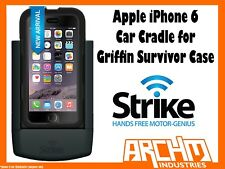 STRIKE ALPHA APPLE IPHONE 6 CAR CRADLE FOR GRIFFIN SURVIVOR CASE - FAST CHARGER