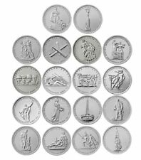 RUSSIA 18 coins set 5 roubles UNC WWII