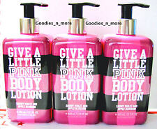 3 Victoria's Secret GIVE A LITTLE Snowy Violet & Apple Blossom Body Lotions