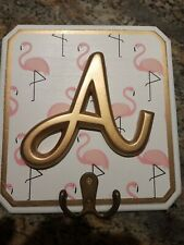 Wall Hook Plaque Letter 'A' White W/Flamingos