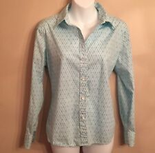 Talbots Petites long-sleeve blouse size M buttons cotton stretch blue white EUC