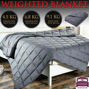 WEIGHTED BLANKET GRAVITY SENSORY SLEEP REDUCE ANXIETY BED SOFA COTTON GLASS BEAD