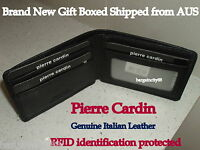 Pierre Cardin-RFID Blocking-Fine Genuine Italian Leather Mens Bifold Slim Wallet