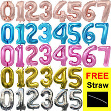 """32"""" 40"""" Giant Foil Number Self Inflating Balloons Birthday Age Party Wedding"""