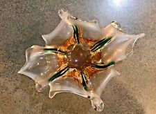 Vintage Hand-Blown Murano Glass Art Star-Shaped Center Dish, Made in Italy