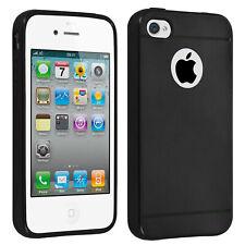 Carcasa protectora iPhone 4 / 4S Silicona Efecto Metalizado - Negra