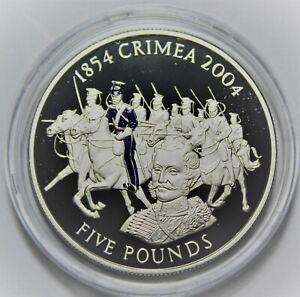 Jersey 5 Pounds, 2004 Rare Silver Proof~Crimean War Battle of Balallava~Free Shi