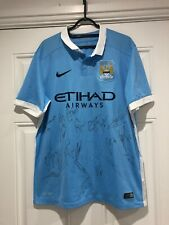 2015-16 Squad Signed Manchester City Home Shirt - Large